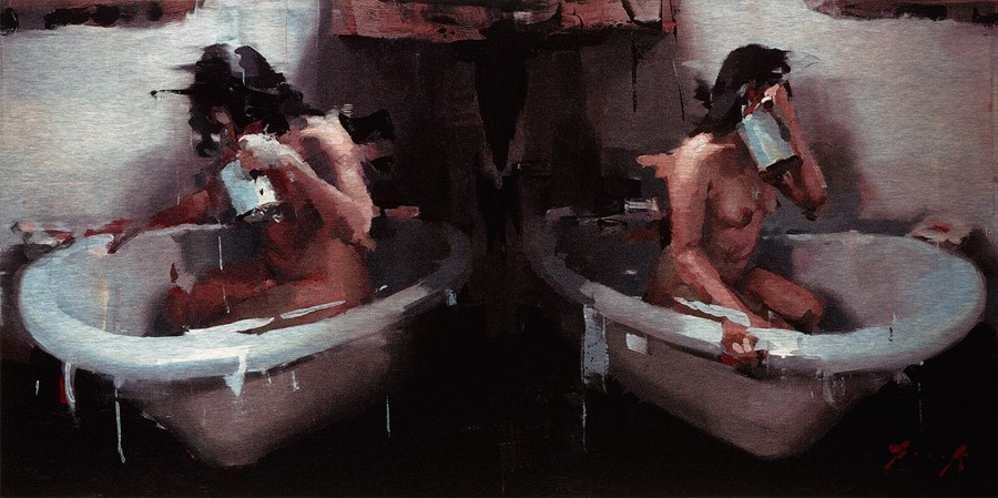 Water Jug (Two Nudes in Bath) by Christian Hook - Limited Edition on Aluminimum sized 22x11 inches. Available from Whitewall Galleries